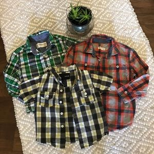 3 plaid button downs, Tucker + Tate and Hurley